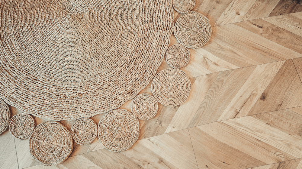 beige braided rug
